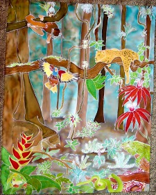 Diane Fredgant Hand painted Silk jungle picture